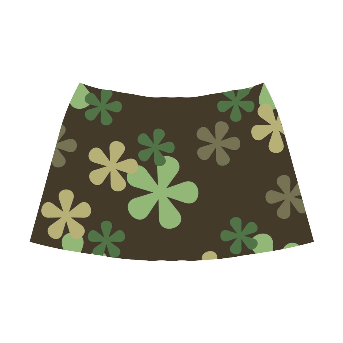 Camouflage Retro Flowers Mnemosyne Women's Crepe Skirt (Model D16)