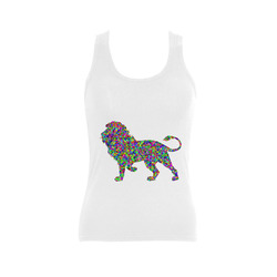 Abstract Triangle Lion White Women's Shoulder-Free Tank Top (Model T35)