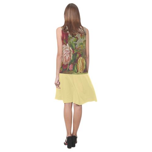 Vintage Roses Sleeveless Splicing Shift Dress(Model D17)