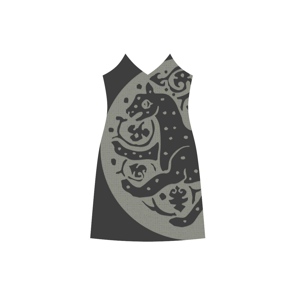 ART CHEETAH BLACK V-Neck Open Fork Long Dress(Model D18)
