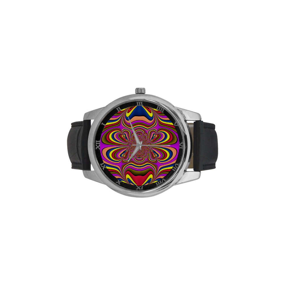 Yellow Lilac Abstract Flower Men's Leather Strap Large Dial Watch(Model 213)
