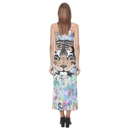 TIGER FLOWERS V-Neck Open Fork Long Dress(Model D18)
