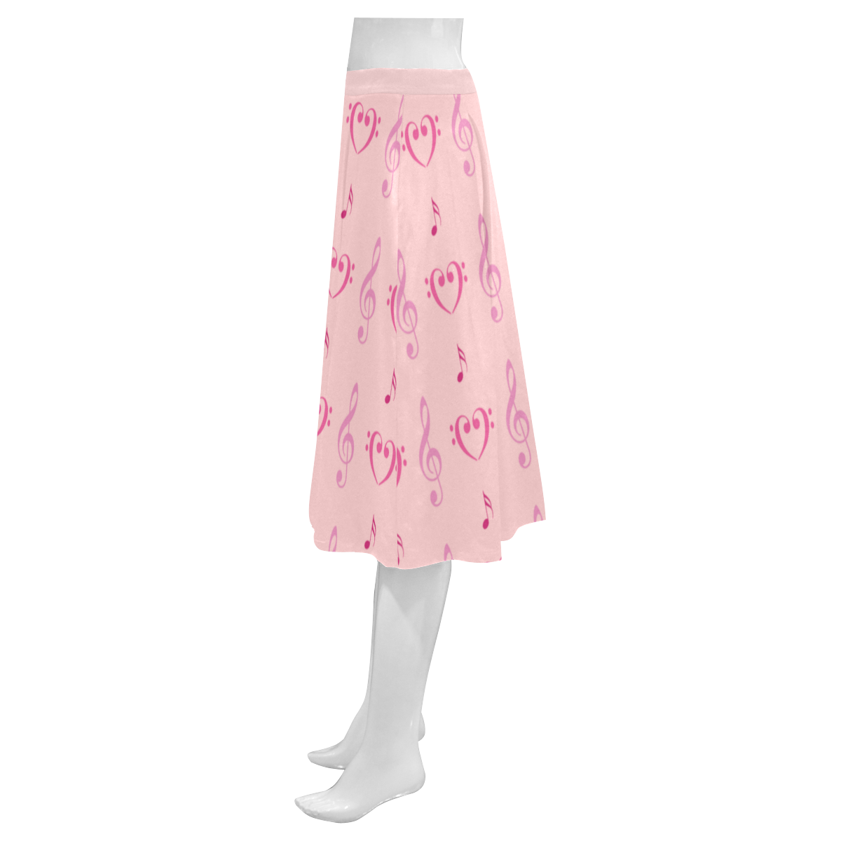 Pink Musical Mnemosyne Women's Crepe Skirt (Model D16)