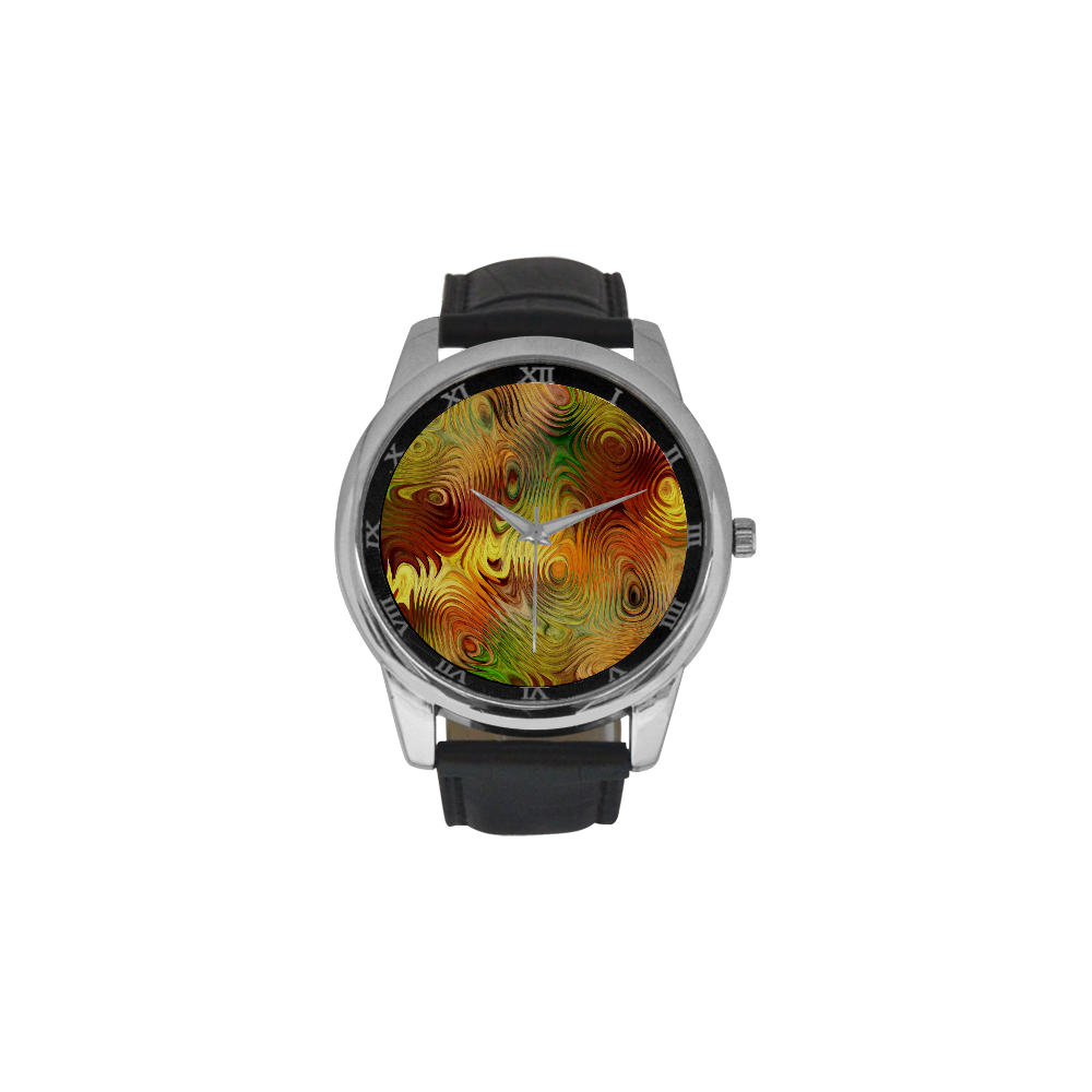 Autumn Leafs Underwater Men's Leather Strap Large Dial Watch(Model 213)