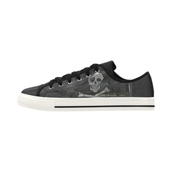 Vintage Skull Pirates Flag Aquila Microfiber Leather Women's Shoes (Model 028)
