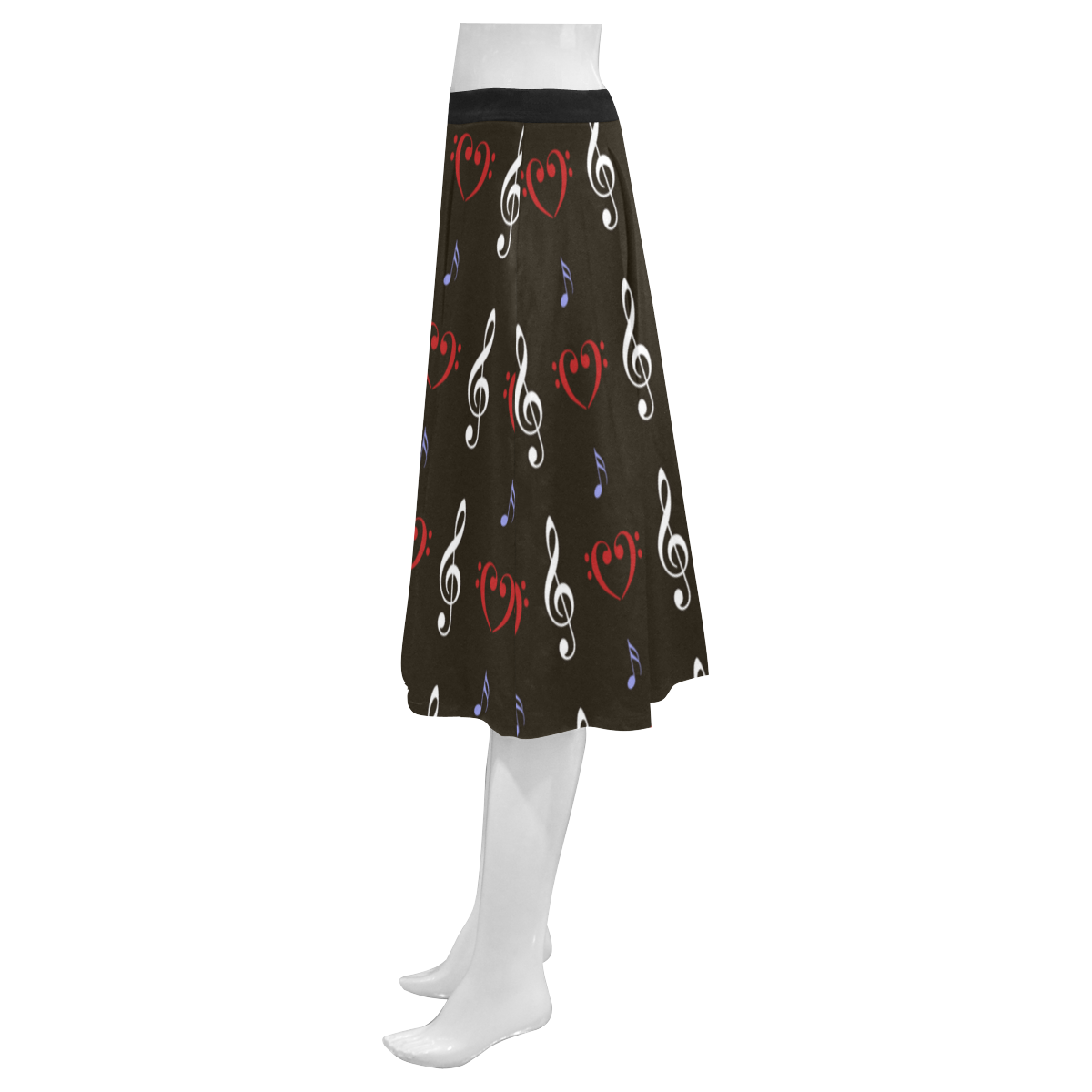 Red White and Musical Mnemosyne Women's Crepe Skirt (Model D16)