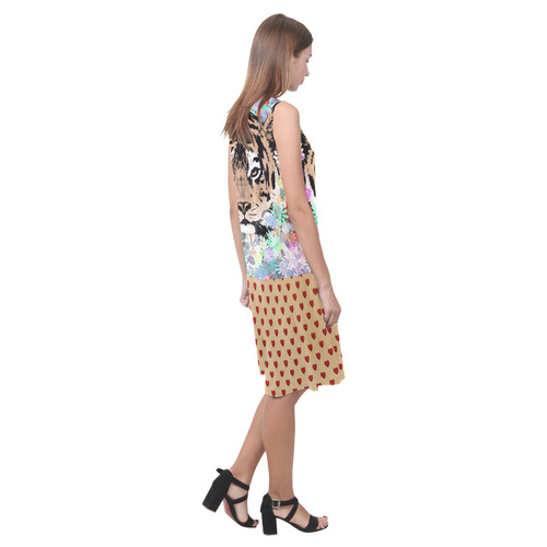 TIGER FLOWERS RETRO HEARTS Sleeveless Splicing Shift Dress(Model D17)