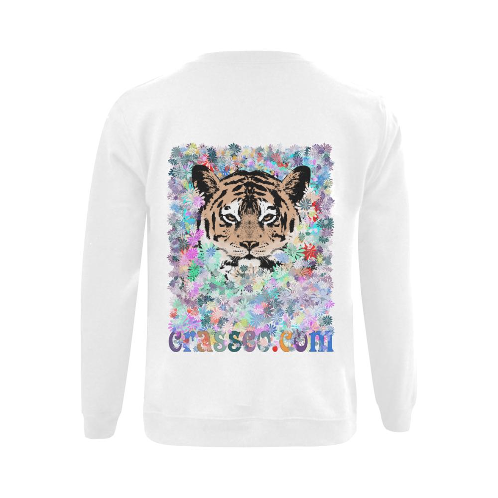 TIGER FLOWERS Gildan Crewneck Sweatshirt(NEW) (Model H01)