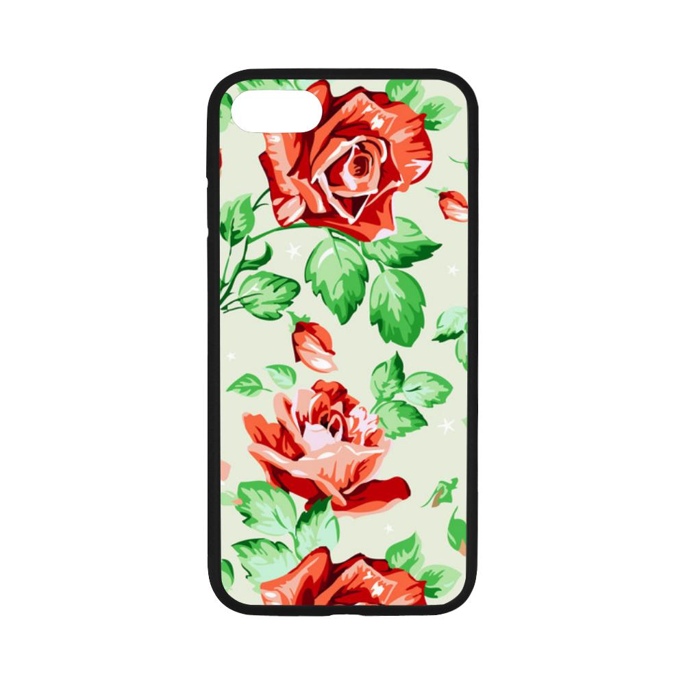 Vintage Floral Wallpaper Red Rose Flowers Rubber Case For