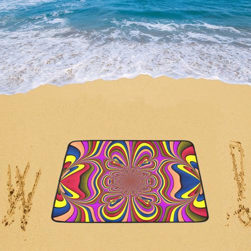 """Yellow Lilac Abstract Flower Beach Mat 78""""x 60"""""""