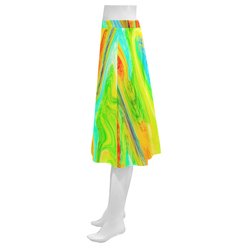 Happy Multicolor Painting Mnemosyne Women's Crepe Skirt (Model D16)