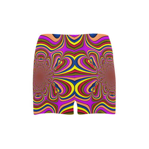 Yellow Lilac Abstract Flower Briseis Skinny Shorts (Model L04)