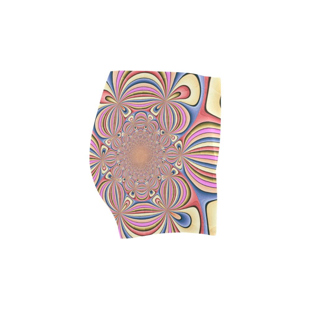 Pastel Shades Flower Ornament Briseis Skinny Shorts (Model L04)