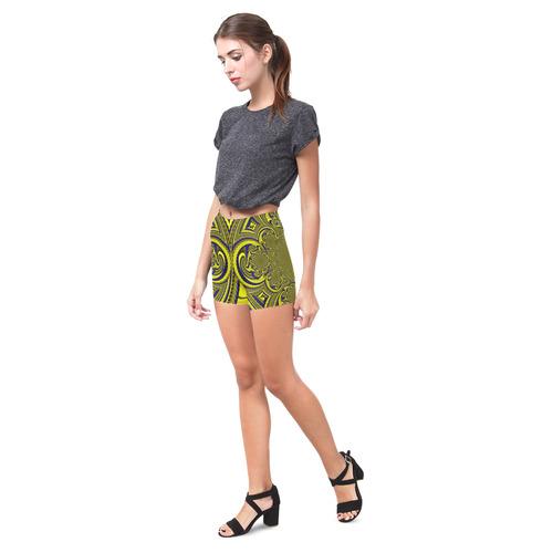 Blue Gold Ornamental Blossom Briseis Skinny Shorts (Model L04)