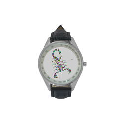 Abstract Triangle Scorpion Men's Leather Strap Analog Watch(Model 209)