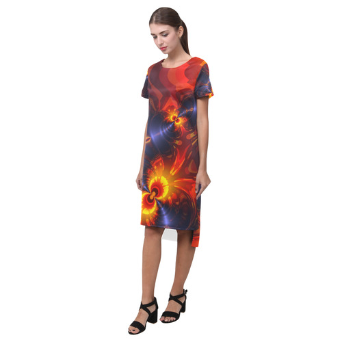 Butterfly Eyes, Abstract Violet Gold Wings Short Sleeves Casual Dress(Model D14)