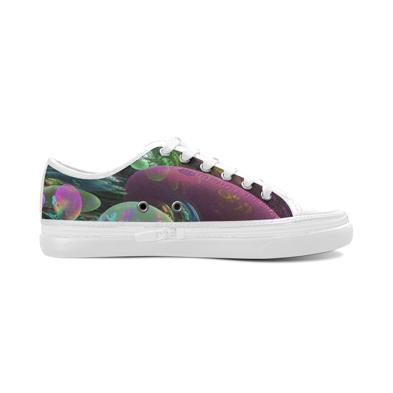 Creation of the Rainbow Galaxy, Abstract Rainbow Women's Canvas Zipper Shoes/Large Size (Model 001)