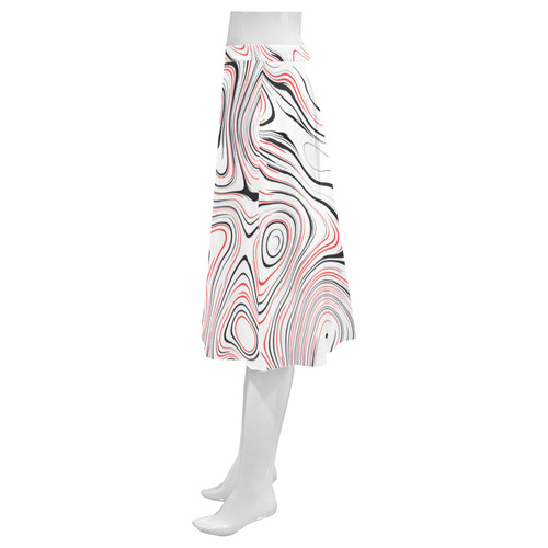 Red Black Fluent Circle Mnemosyne Women's Crepe Skirt (Model D16)