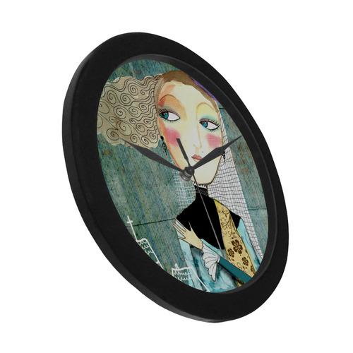 pretty lady girl woman church art illustration Circular Plastic Wall clock
