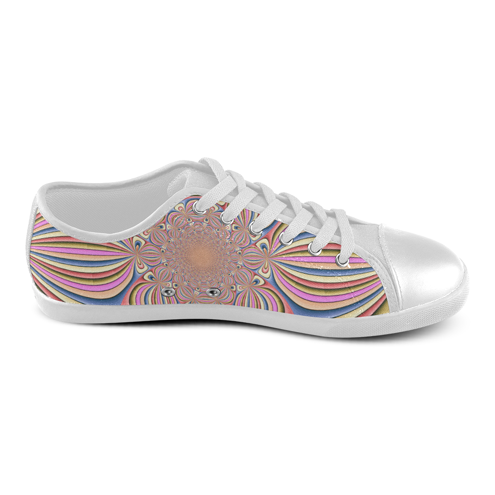 Pastel Shades Flower Ornament Women's Canvas Shoes (Model 016)