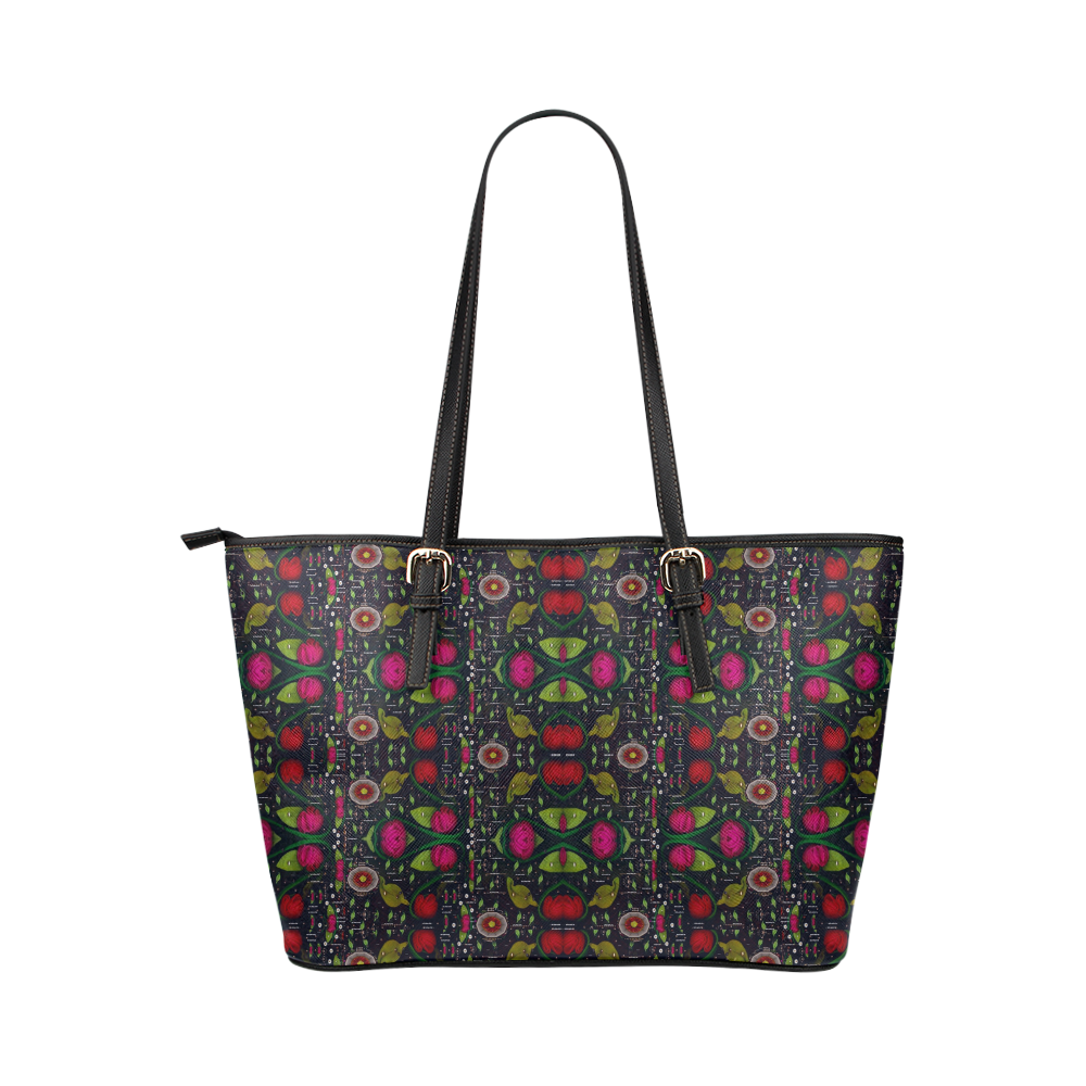 Roses and green leaf Leather Tote Bag/Large (Model 1651)