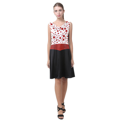Polka Dots with Red Sash on Black Chryseis Sleeveless Pleated Dress(Model D07)