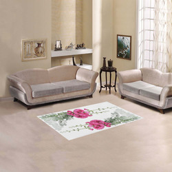 """Pink Hollyhocks, watercolor Area Rug 2'7""""x 1'8''"""