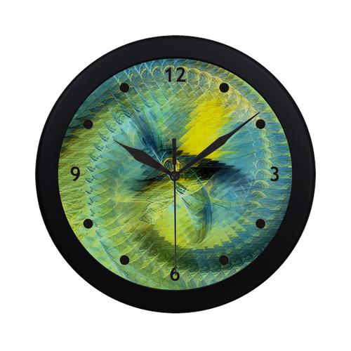 Light Blue Yellow Abstract Fractal Circular Plastic Wall clock