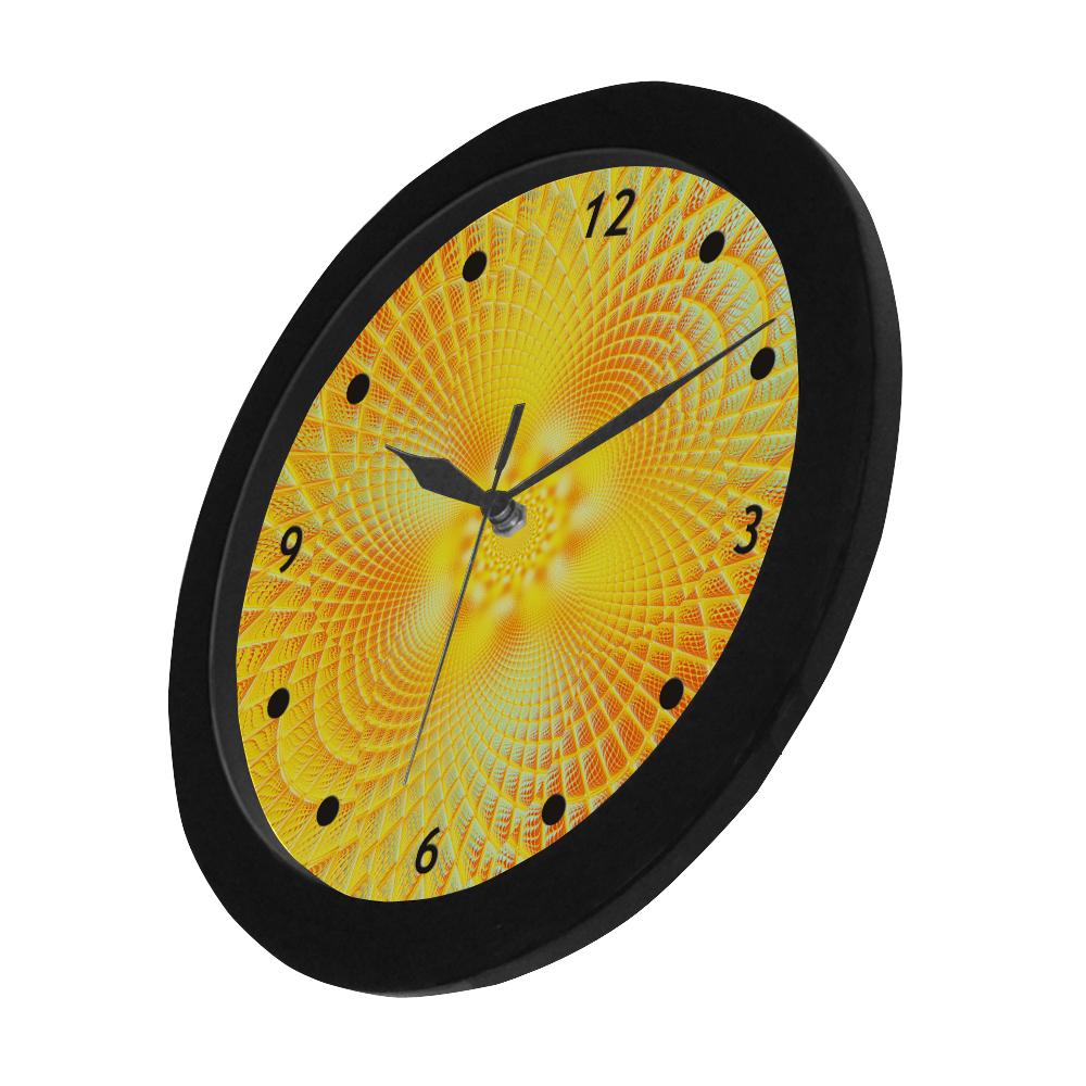 Gold Blue Grid Abstract Blossom Circular Plastic Wall clock