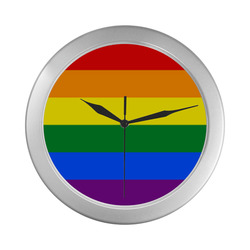 Gay Pride Rainbow Flag Stripes Silver Color Wall Clock