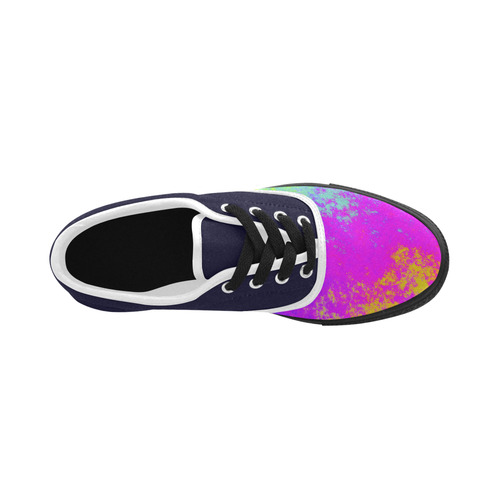 Grunge Radial Gradients Red Yellow Pink Cyan Green Aries Men's Canvas Shoes (Model 029)