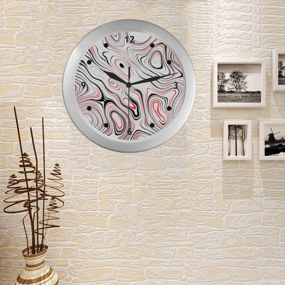 Red Black Fluent Circle Silver Color Wall Clock