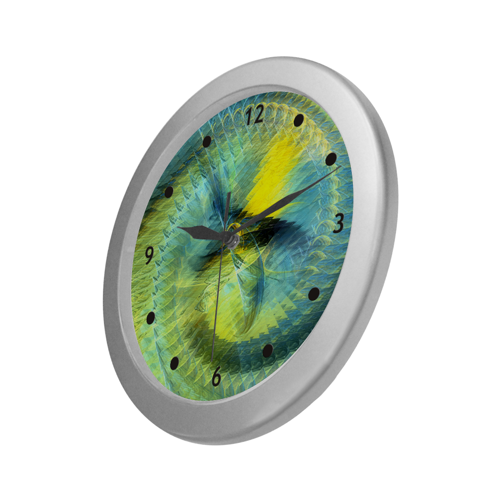 Light Blue Yellow Abstract Fractal Silver Color Wall Clock