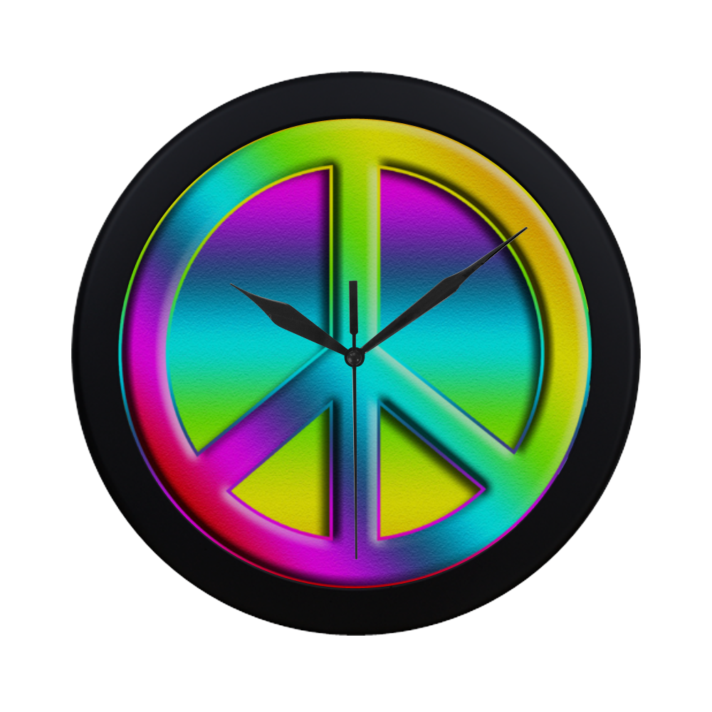 Neon Colorful PEACE pattern Circular Plastic Wall clock