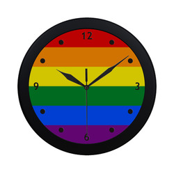 GAY PRIDE Rainbow Flag Colored Stripes Circular Plastic Wall clock