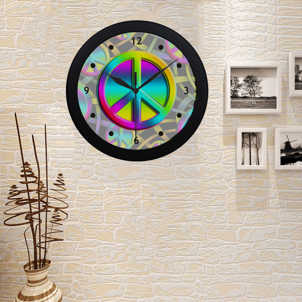 NEON Colorful PEACE pattern Circular Plastic Wall clock