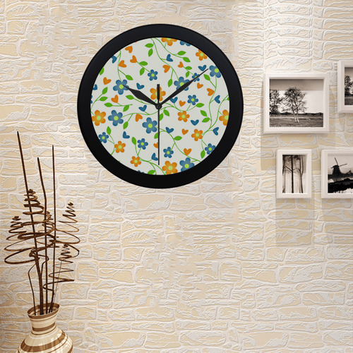lovely floral 416C Circular Plastic Wall clock