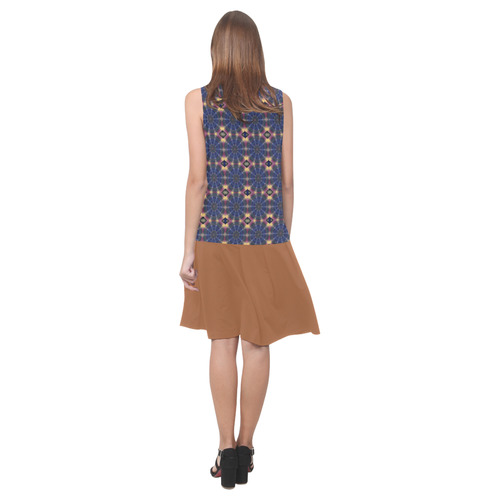Blue Pinwheels and Adobe Sleeveless Splicing Shift Dress(Model D17)