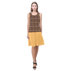 Amber Yellow Brown and Blue Sleeveless Splicing Shift Dress(Model D17)