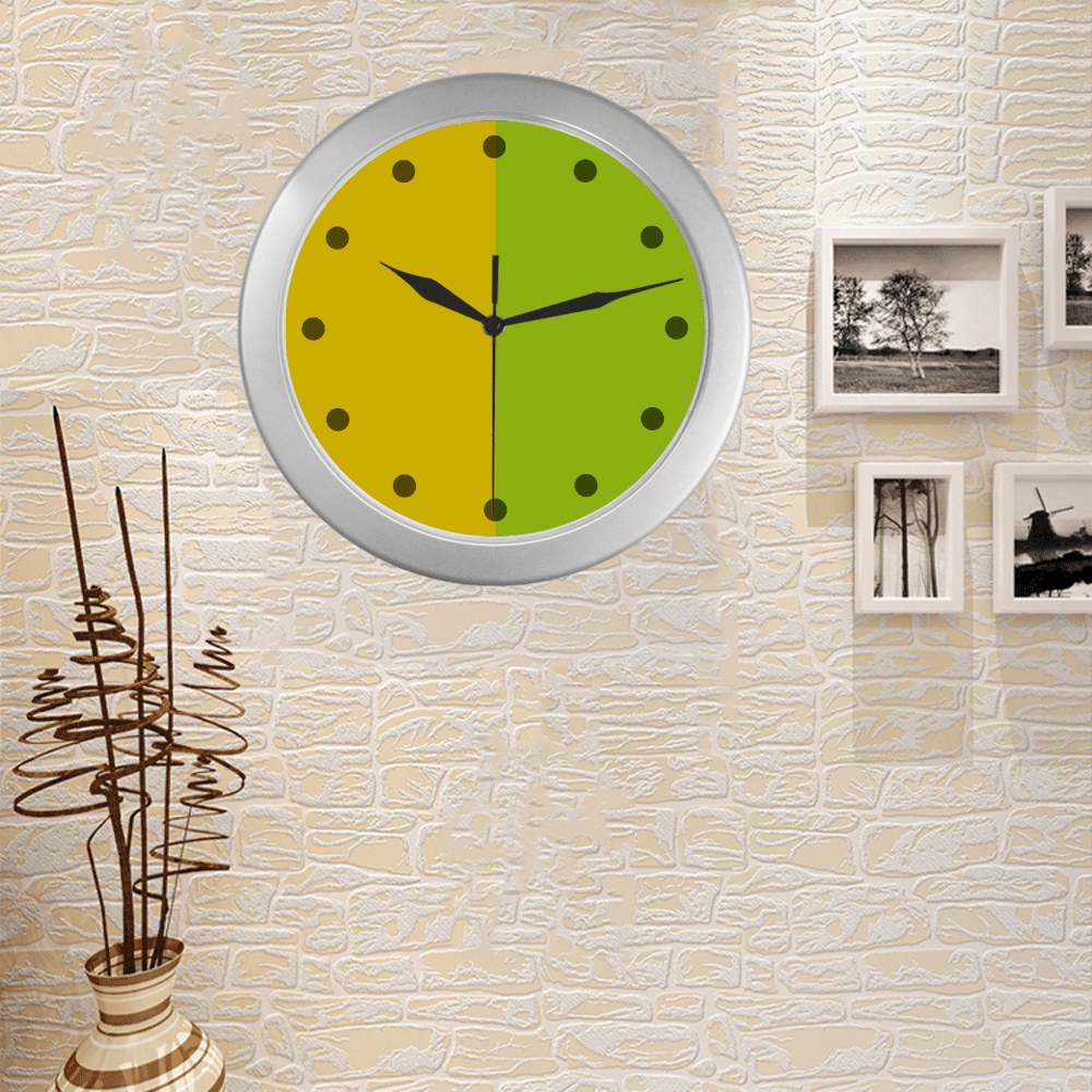 Only two Colors: Sun Yellow - Spring Green Silver Color Wall Clock