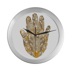 hamsa bijoux 3 yellow Silver Color Wall Clock