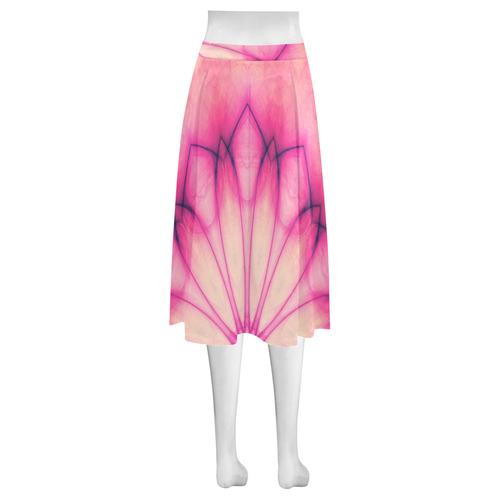 Pink Ink Flower mandala abstract floral art Mnemosyne Women's Crepe Skirt (Model D16)