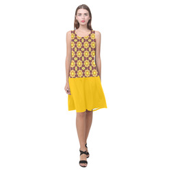 Yellow and Brown Abstract Sleeveless Splicing Shift Dress(Model D17)
