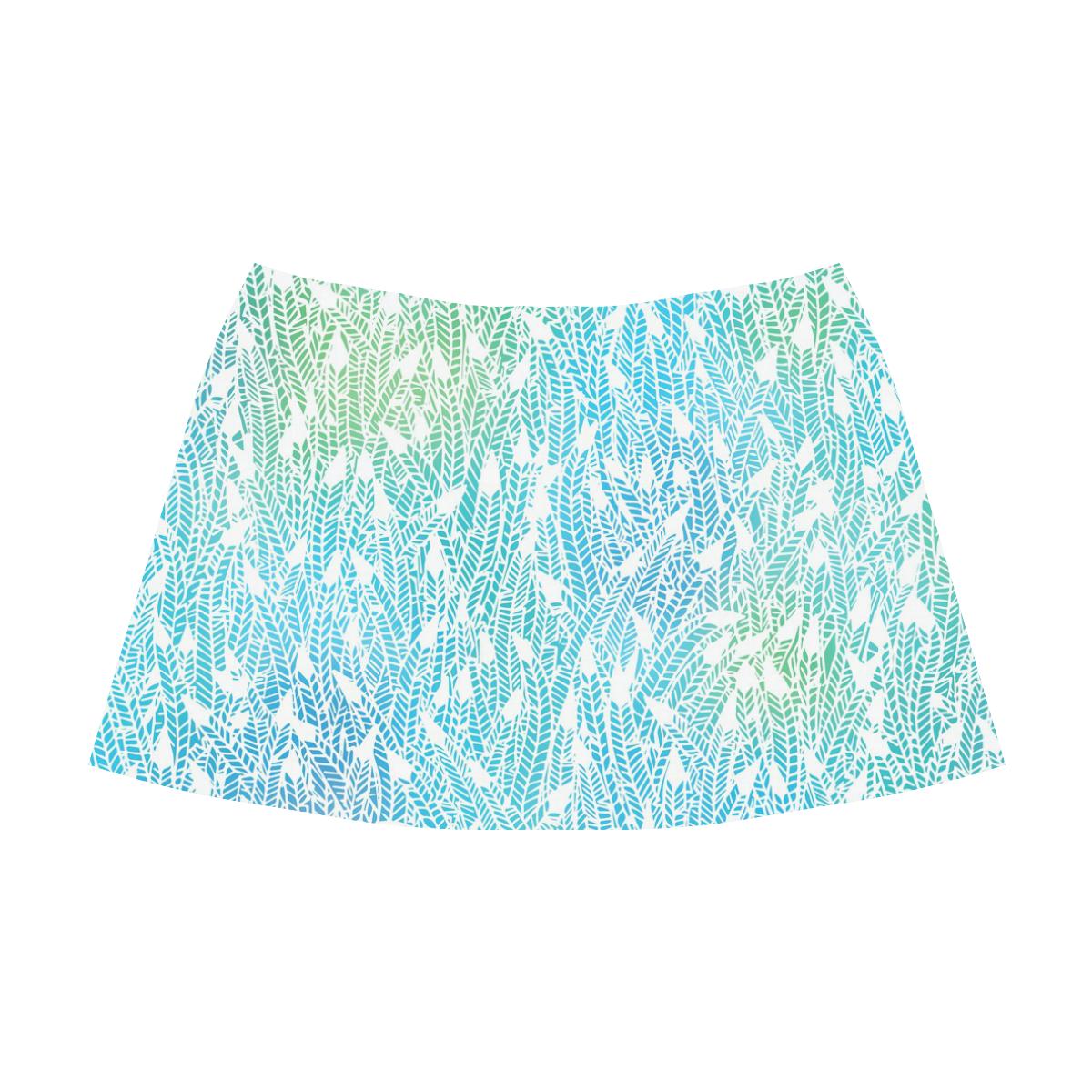 blue white feather pattern Mnemosyne Women's Crepe Skirt (Model D16)