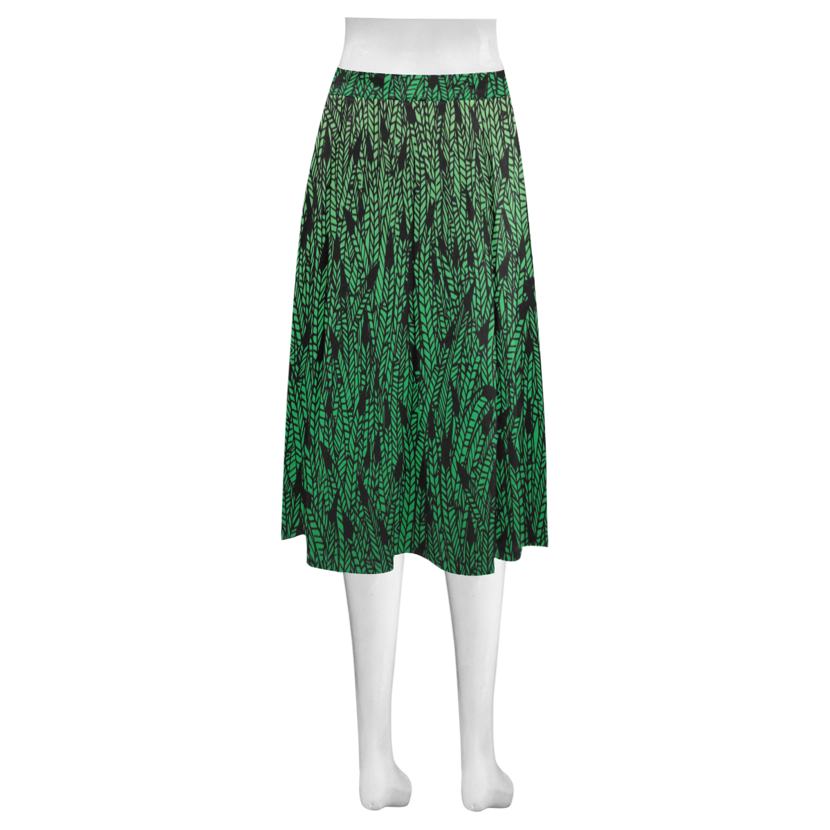 green ombre feathers pattern black Mnemosyne Women's Crepe Skirt (Model D16)