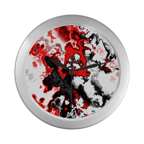red black white 3 Silver Color Wall Clock