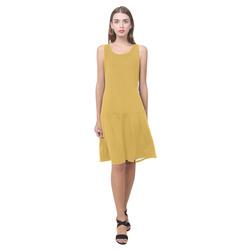 Spicy Mustard Sleeveless Splicing Shift Dress(Model D17)