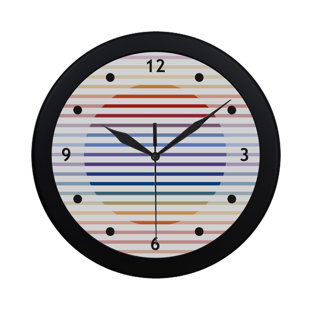 Narrow Flat Stripes Pattern Colored Circular Plastic Wall clock