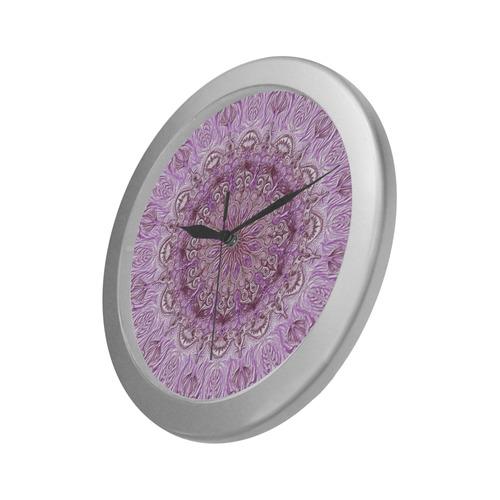 mandala1-3 Silver Color Wall Clock