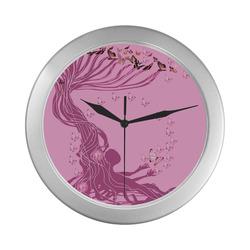 arbre a papillons -1-7 Silver Color Wall Clock